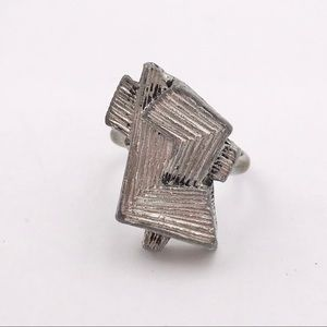 Vintage Modernist Abstract Textured Heavy Ring